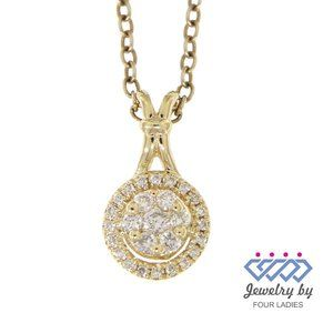 Real Diamond 14k Yellow Gold Round Dainty Pendant